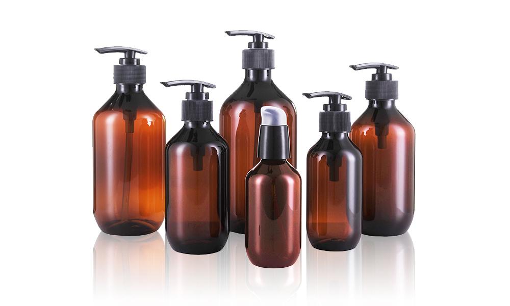 PET/PCR-PET Hand Washing Bottle Amber Plastic Shampoo Liquid Shower Bottle Featured Image