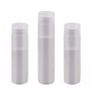White Oval PP PCR Material Airless Bottle Matte Surface