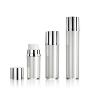 White empty skin care cosmetic packaging pump round airless lotion bottle