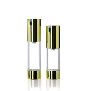 Gold round PP AS cosmetic pump slim airless lotion bottle