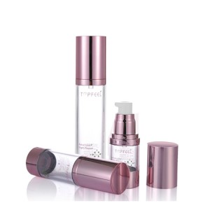 Silver Shoulder Transparent Clear 15ml 30ml 50ml Cosmetic Airless Pump Bottle