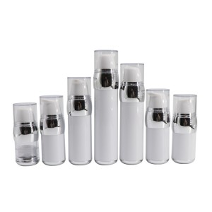Silver Shoulder White Cosmetic Airless Pump Bottle