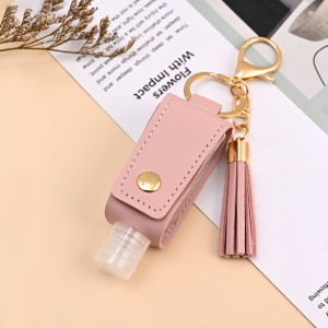 Mini 30ml Plastic Reusable Hand Sanitizer Bottle With Leather Holder Keychain